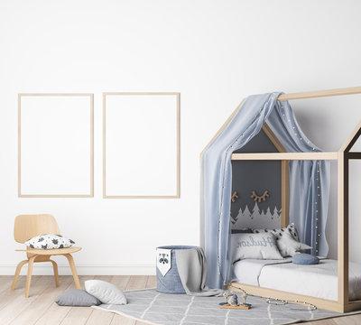 Mock up kids bedroom in white background, modern nursery style, tow frames, 3D render, 3D illustration