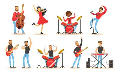 Set of images of rock musicians. Vector illustration.