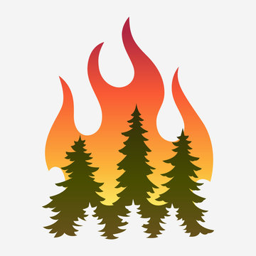 Forest fire, fir trees in fire. Simple vector