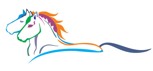 Colorful vector horses