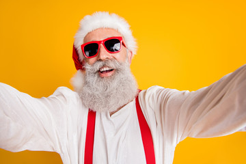 Close up photo of funny funky grey hair santa claus hipster blogger have christmas x-mas vacation...