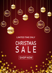 Christmas holiday sale on red background with star. Limited time only. Template for a banner, shopping, discount. Vector illustration for your design
