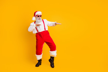 Full size photo of funny crazy cool santa claus fairy hipster clubber enjoy x-mas christmas time...