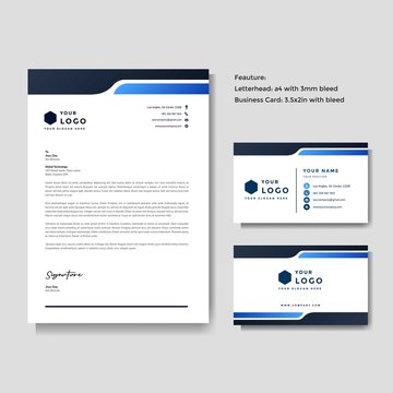 Professional creative letterhead and business card vector template