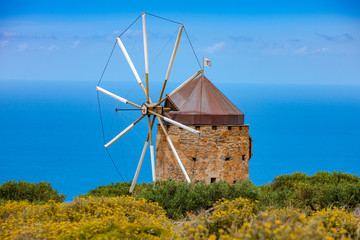 Old windmill on the island of Crete, Greece.
