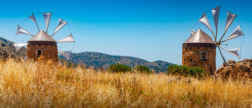 Old windmills on the island of Crete, Greece.