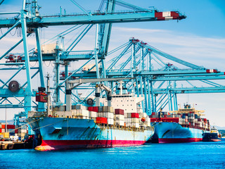 Container ship in the habor of Algeciras, Spain, loading and unloading containers