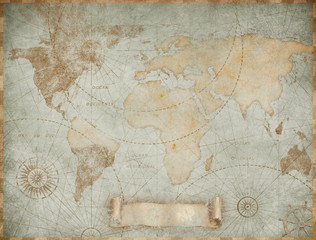 Printed roller blinds Retro Blue vintage world map illustration based on image furnished by NASA