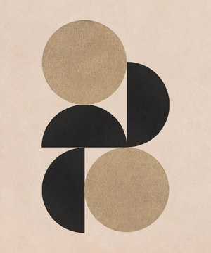 Abstract Art Deco Collage with geometric form and paper texture