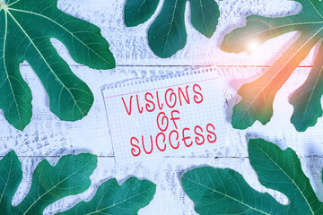 Word writing text Visions Of Success. Business photo showcasing Clear End Result of Purpose Goal Perspective Plan Leaves surrounding notepaper above a classic wooden table as the background