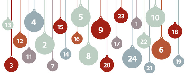 advent calendar 24 christmas tree balls vector illustration EPS10