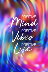 Poster Positive Typography Positive mint, vibes and life poster. Inspirational quote banner.