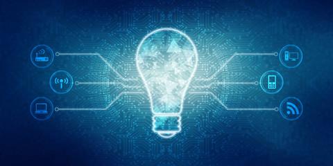 2d illustration bulb future technology, innovation background, creative idea concept  Wall mural