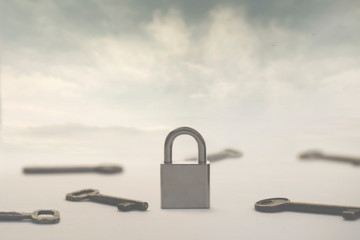 surreal image of infinite keys as a solution to a single padlock or problem, concept of choice, success, solutions