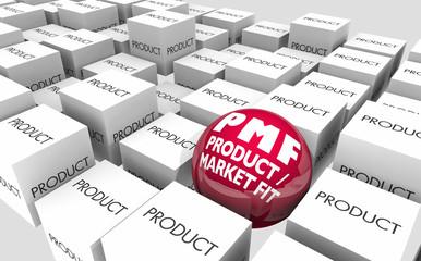 PMF Product Market Fit Meet Customer Demands Unique Business 3d Illustration