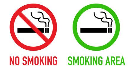 禁煙と喫煙可のサインセット