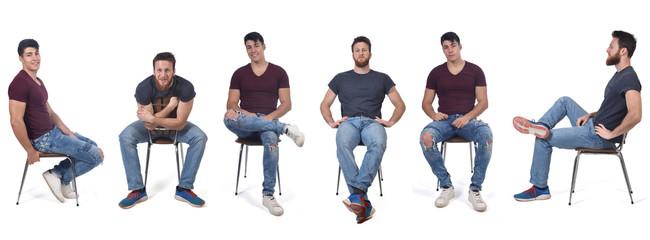 Fototapeta men sitting in various ways in a chair