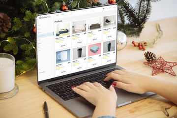 christmas sale  laptop with online shop