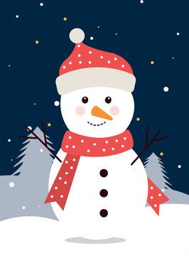 merry christmas snowman in winter landscape design