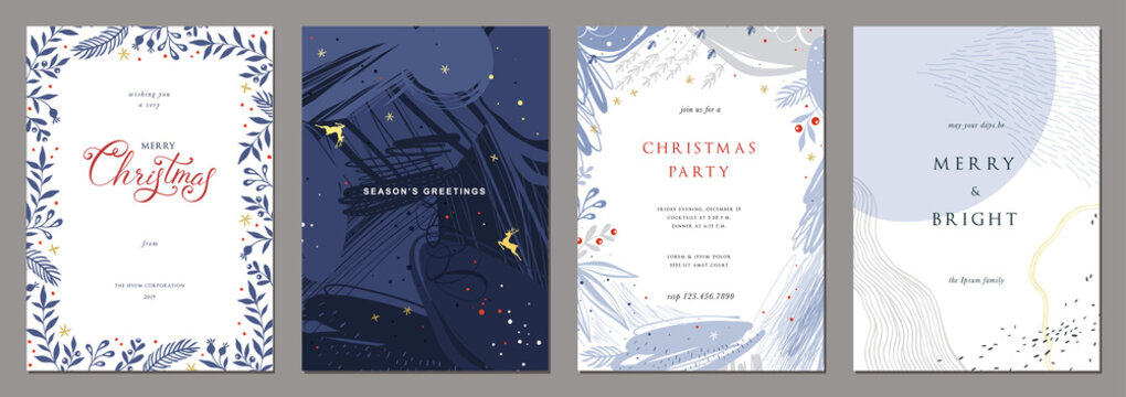 Merry Christmas and Modern Business Holiday cards.