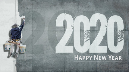 Happy New Year 2020 on facade Wall mural