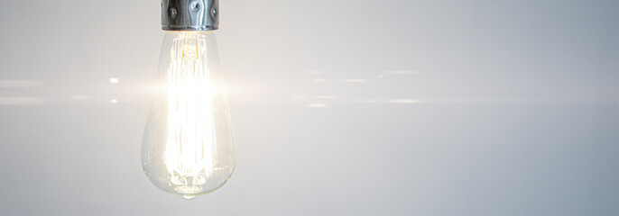 Glowing bulb. Idea, uniqueness, leadership and difference concept.