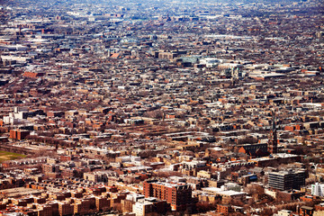 Fototapete - Suburban view of Chicago city small towns, above