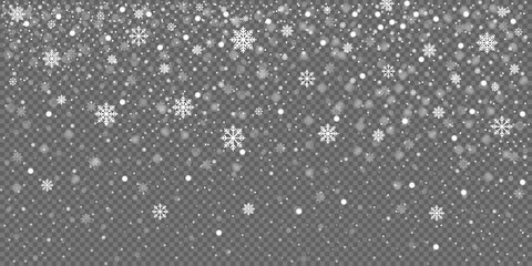 Christmas snow falling snowflakes isolated on transparent background vector illustration. EPS 10 Fotobehang