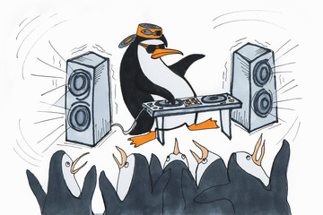 A picture of a penguin dancing to the loud music of the DJ with the speakers.