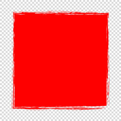 red abstract frame on transparent background