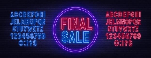 Fototapete - Final sale neon sign on dark background. Neon alphabet on a dark background. Template for design.