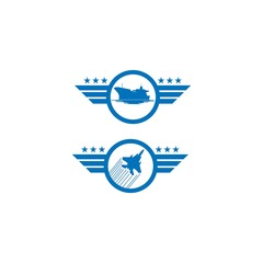 set of air force and navy logos in blue, vector design logos