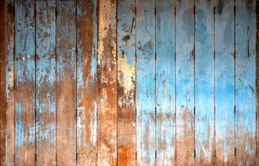 Old wooden door on home front, appropriate the background , idea copy space