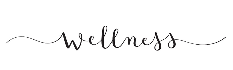 WELLNESS black vector brush calligraphy banner with swashes Fototapete