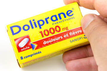 Box of doliprane, a paracetamol-based analgesic commonly used for pain and headaches