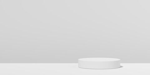 Obraz Abstract white geometry shape background. podium minimalist mock up scene. 3d rendering. - fototapety do salonu