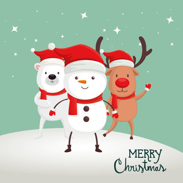 merry christmas poster with snowman and animals design