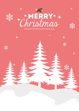 merry christmas poster with winter landscape design