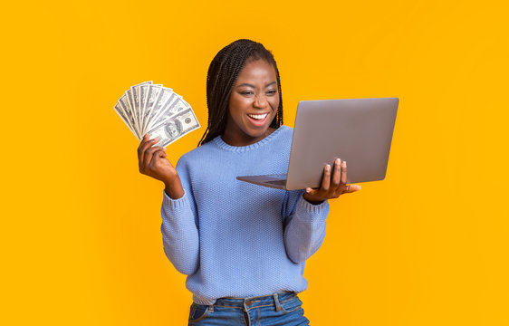 African american woman making money from internet