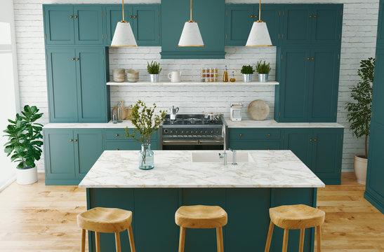 Residential interior of modern kitchen in luxury mansion, 3d rendering