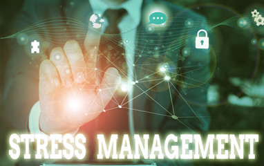 Writing note showing Stress Management. Business concept for method of limiting stress and its effects by learning ways Picture photo network scheme with modern smart device