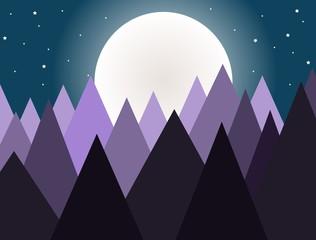 Purple mountains layers under moon light - illustration