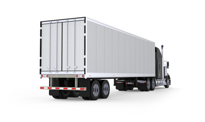 Generic American sleeper semi truck with refrigerated semi trailer from the back right side, photo realistic isolated 3D illustration on the white background.