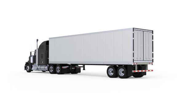 Generic American sleeper semi truck with refrigerated semi trailer from the back left side, photo realistic isolated 3D illustration on the white background.