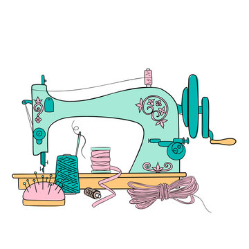 Vintage Sewing Machine vector illustration. Sewing threads silhouette ink pen. Hand drawn,