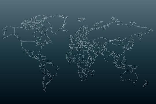 White outline world map. Flat template for banner, poster, web-site, report, infographic. Black gradient background.Globe similar worldmap silhouette. Travel concept. EPS10 illustration.