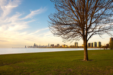 Montrose Harbor and Lincoln Park at the shore of Lake Michigan, Chicago, Illinois