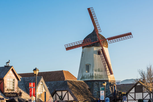 Danish windmill and houses in a tourist town in Solvang, California