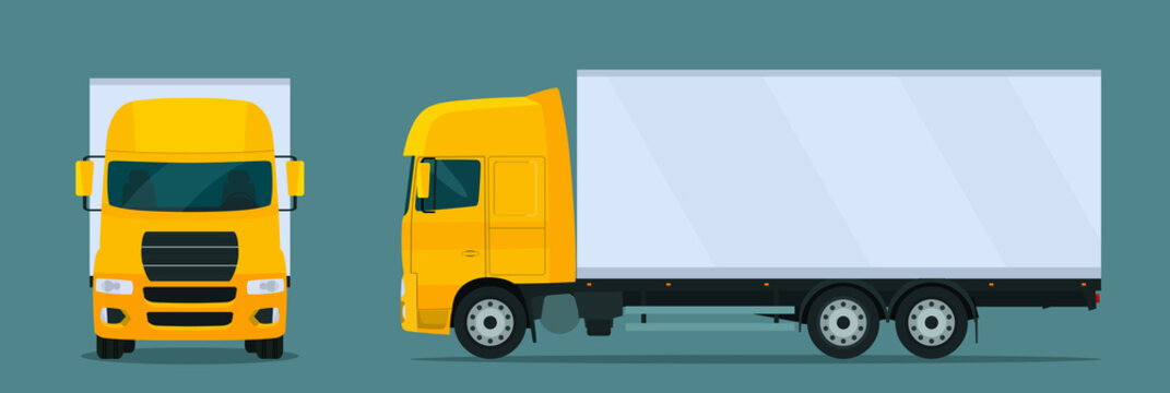 Сargo truck isolated. Сargo truck with side and front view. Vector flat style illustration.