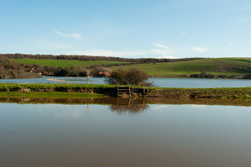 Cuckmere Haven Flooded with blue sky